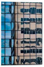 A distorted reflection of an office block in the r, Acrylic Print