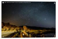 A mainroad by car light and star light., Acrylic Print