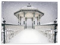 Bandstand in the snow, Acrylic Print