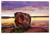 The Sunrise Over Mysterious Stone. North Russia, Acrylic Print