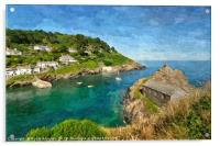 Looking down on Polperro and The Old Net Loft, Acrylic Print