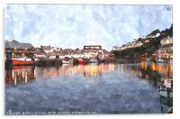 Early evening reflections at Looe in  Cornwall, Acrylic Print