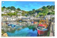 Colourful boats and houses at Polperro Harbour , Acrylic Print