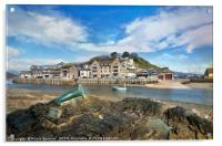 View of Nelson the seal across The River Looe , Acrylic Print