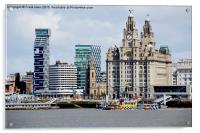 Liverpool waterfront and M.V. Snowdrop, Acrylic Print