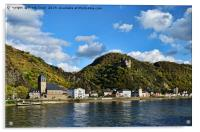 Sankt Goarshausen & Castle Katz on River Rhine, Acrylic Print
