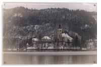 Bled Island Dusted With Snow, Acrylic Print