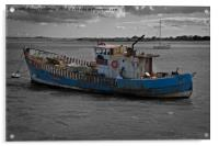 Old Boat On River Exe, Acrylic Print