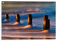 Groynes At Sunrise, Acrylic Print