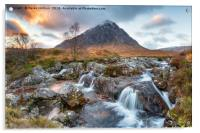 Sunset at Buachaille Etive Mor, Acrylic Print