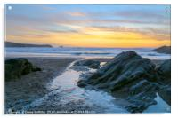 Fistral Beach Sunset by the rocks, Acrylic Print