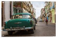 Back of a cab in Centro Havana, Acrylic Print