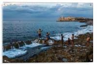 Backflipping off the Malecon, Acrylic Print