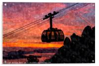 Silhouette of the Dubrovnik cable car, Acrylic Print