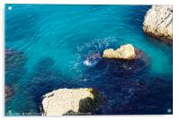 Turquoise sea at Nerja, Spain, Acrylic Print