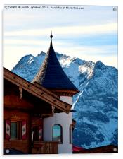A TOWER ROOM WITH A MOUNTAIN VIEW , Acrylic Print