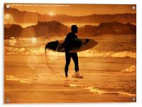 The Early Surfer Gets The Wave , Acrylic Print