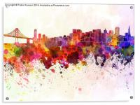 San Francisco skyline in watercolor background, Acrylic Print