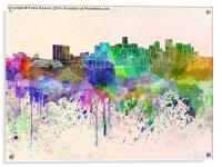 Denver skyline in watercolor background, Acrylic Print