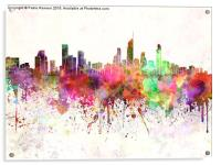 Gold Coast skyline in watercolor background, Acrylic Print