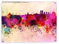 Istanbul skyline in watercolor background, Acrylic Print