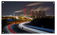 Ferrybridge Power Station and the A1M at Night, Acrylic Print