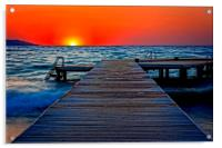 A digitally converted painting of a wooden pier at, Acrylic Print