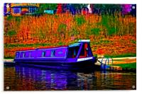 A digitally converted painting of a canal barge in, Acrylic Print