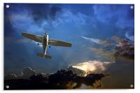 Small fixed wing plane against a stormy sky , Acrylic Print