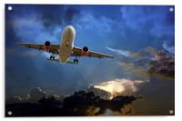 Passenger plane on final approach, against a storm, Acrylic Print