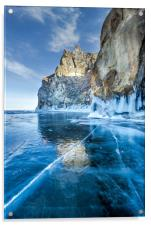 Blue Ice of the Lake Baikal, Acrylic Print
