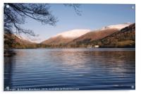 Grasmere with snow capped fells in the background., Acrylic Print