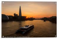 Sunset Cruise on the River Thames, Acrylic Print
