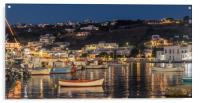 Fishing boats at night in Mykonos town, Acrylic Print