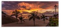 Palm Trees and Sunset, Acrylic Print