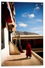Two old Buddhist monks of Drepung Monastery, Tibet, Acrylic Print