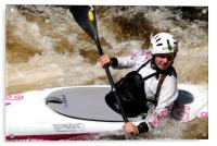 Young female canoeist on the River Treveryn , Acrylic Print