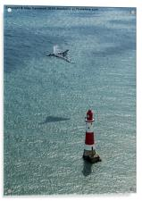 Avro Vulcan low pass over Eastbourne lighthouse, Acrylic Print