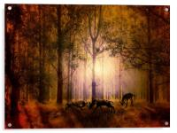 Deers In the woods, Acrylic Print