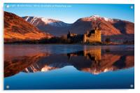 Kilchurn Castle, red sunrise, Loch Awe, Scotland., Acrylic Print