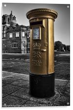 Golden Post Box, Acrylic Print