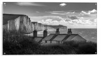 Coastguard Cottages and the Seven Sisters at Cuckm, Acrylic Print