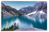 Glacier lake with mountains and snow during summer, Acrylic Print