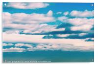 White Soft Clouds On Blue Turquoise Sky, Acrylic Print