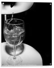 glass with ice cubes on white background, Acrylic Print