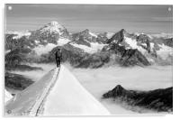 Climbers high in the Swiss Alps, on the traverse o, Acrylic Print