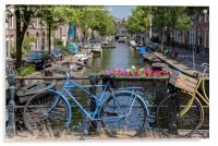 The blue bicycle in Amsterdam, Acrylic Print