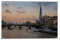 Sunset over the river Thames & the Shard, London., Acrylic Print