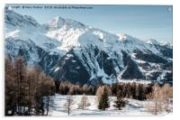 A view of the mountains in the French Alps. , Acrylic Print