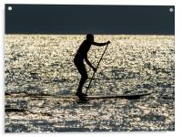 Paddle Boarder at Newgale, Pembrokeshire., Acrylic Print